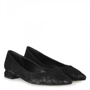 Siyah Dantel Babet Ayakkabı