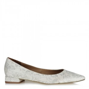 Kırık Beyaz Gümüşlü Dantel Babet Ayakkabı