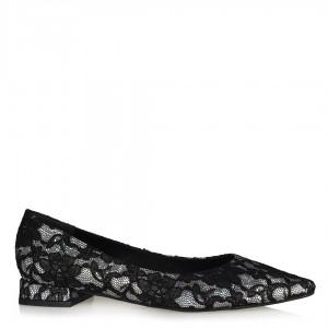 Babet Ayakkabı Siyah Gümüş Dantel