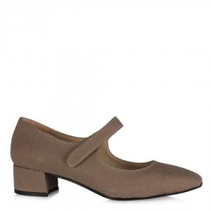 Bej Süet Topuklu Ayakkabı Kemerli