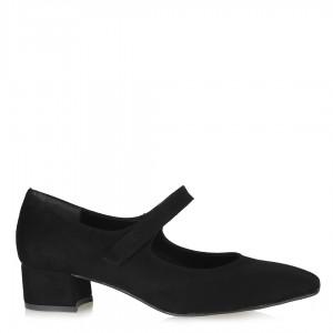 Az Topuklu Ayakkabı Kemerli Siyah Süet