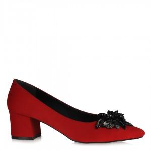 Kırmızı Süet Stiletto Tokalı Ayakkabı