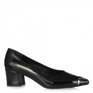 Siyah Rugan Stiletto  Metalik Taşlı