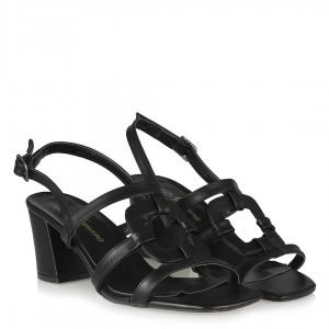 Topuklu Sandalet Siyah Kemerli