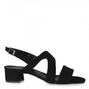 Topuklu Sandalet Siyah Süet Çapraz