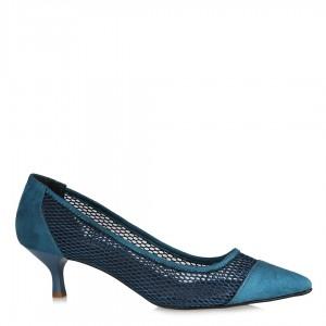 Stiletto Ayakkabı Petrol Mavi Fileli