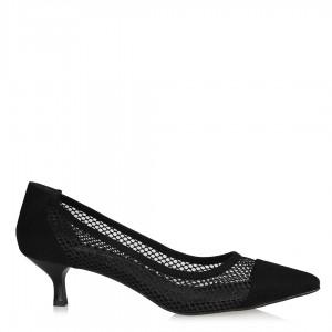 Siyah Süet Fileli Stiletto Ayakkabı