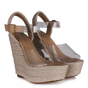 Hasır Şeffaf Bantlı Dolgu Topuk Ayakkabı