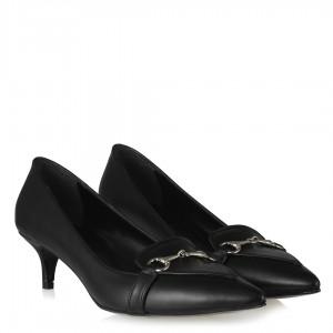 Siyah Mat Zincirli Sivri Stiletto Ayakkabı