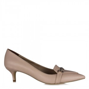Stiletto Ayakkabı Ten Rengi Zincirli