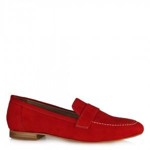 Loafer Düz Ayakkabı Kırmızı  Süet