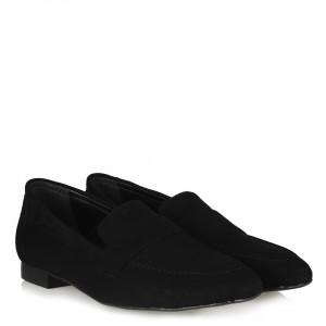 Siyah Süet Loafer Düz Ayakkabı