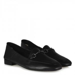 Siyah Rengi Hakiki Deri Zincirli Loafer Ayakkabı