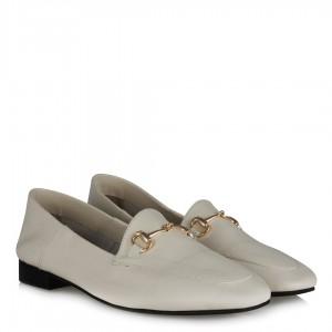Loafer Ayakkabı Açık Bej Rengi Hakiki Deri Zincirli