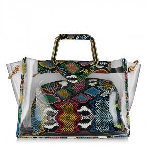 Bayan Çanta Renkli Yılan Şeffaf Model