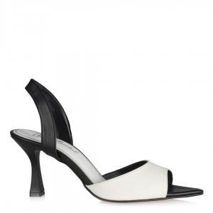 Topuklu Ayakkabı Siyah Beyaz Arkası Açık