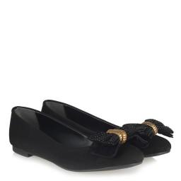 Babet Ayakkabı Siyah Süet Metalik Fiyonklu