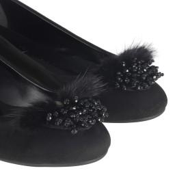 Siyah Süet Tüylü Boncuklu Babet Ayakkabı