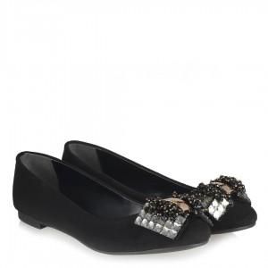 Siyah Süet Beyaz Taşlı Babet Ayakkabı