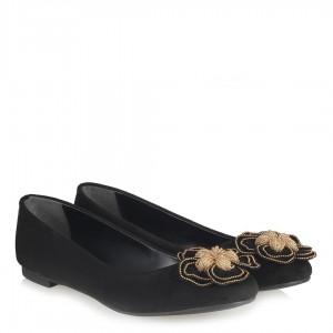 Siyah Süet Çiçek Tokalı Babet Ayakkabı