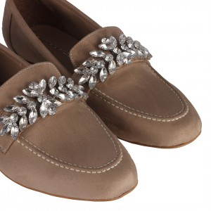 Vizon Süet Taşlı Loafer Ayakkabı