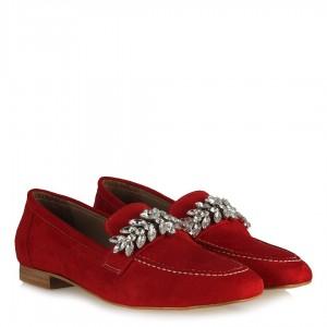 Loafer Ayakkabı Taşlı Kırmızı Süet