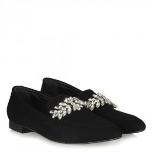 Loafer Ayakkabı Siyah Süet Taşlı