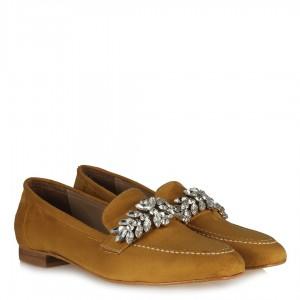Taşlı Loafer Ayakkabı Hardal Süet