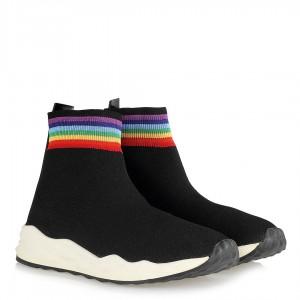 Siyah Streç Bilekli Spor Ayakkabı