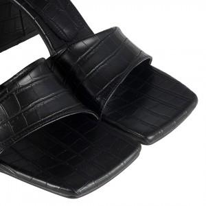 Topuklu Terlik Siyah Crocodile Çapraz