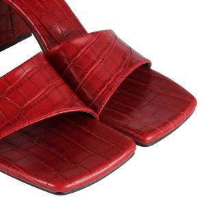 Crocodile Çapraz Topuklu Terlik Kırmızı