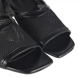 Topuklu Terlik Siyah Fileli