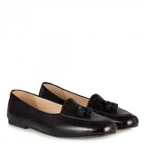 Babet Ayakkabı Bordo Siyah Hakiki Deri Loafer