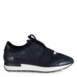 Lacivert Crocodile Desenli Spor Ayakkabı