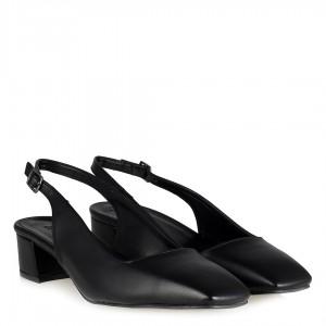 Siyah Topuklu Ayakkabı Arkası Açık