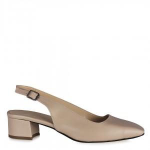 Arkası Açık Ten Rengi Topuklu Ayakkabı