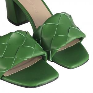 Yeşil Örgü Topuklu Terlik