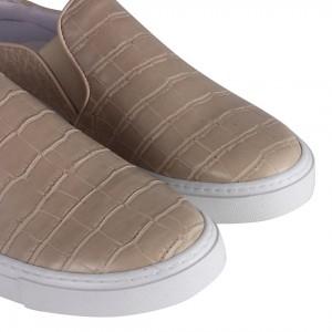 Bej Vans Ayakkabı Terlik Crocodile