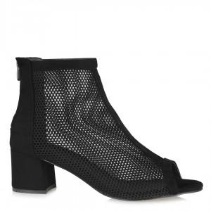 Siyah Süet Kısa Topuklu Fileli Bot Sandalet