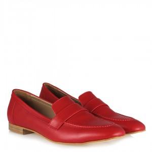 Kırmızı Mat Loafer Düz Ayakkabı