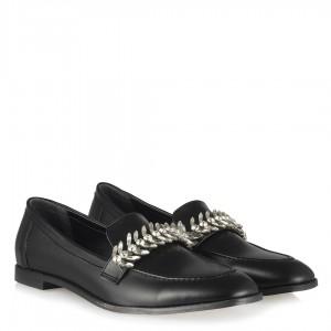 Siyah Taşlı Tokalı Loafer Düz Ayakkabı