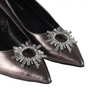 Platin Rengi Beyaz Taşlı Stiletto Ayakkabı