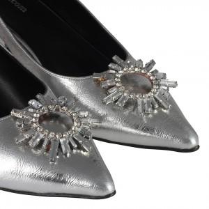 Stiletto Ayakkabı Lame Rengi Beyaz Taşlı