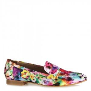 Çiçek Desenli Loafer Düz Ayakkabı