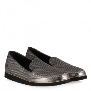 Deri Ayakkabı Platin Rengi Hakiki Deri
