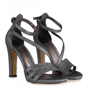 Topuklu Abiye Ayakkabı Füme Simli Bantlı