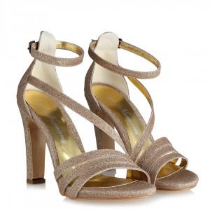 Bakır Simli Abiye Ayakkabı Bantlı