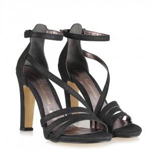 Siyah Simli Bantlı Model Abiye Ayakkabı
