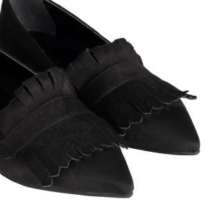 Siyah Süet Püsküllü Sivri Babet Ayakkabı