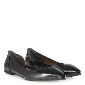Siyah Şeffaf Sivri Burun Babet Ayakkabı